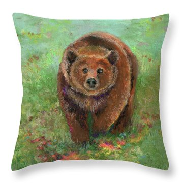 Throw Pillow featuring the pastel Grizzly In The Meadow by Lauren Heller