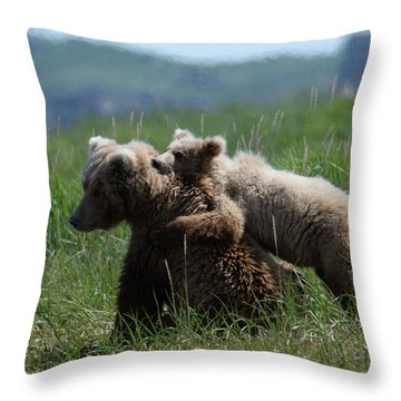 Grizzly  Mother And A Cub In Katmai National Park Throw Pillow