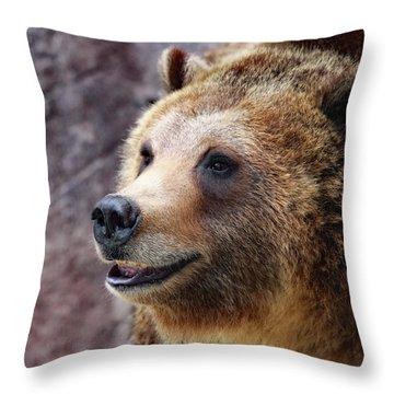 Grizzly Smile Throw Pillow