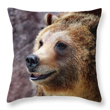 Grizzly Smile Throw Pillow
