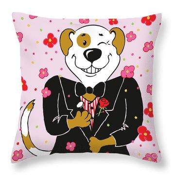 Groom Dog Throw Pillow