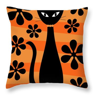 Groovy Flowers With Cat Orange And Light Orange Throw Pillow