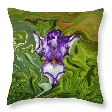 Groovy Purple Iris Throw Pillow by Rebecca Margraf