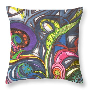 Throw Pillow featuring the painting Groovy Series by Chrisann Ellis