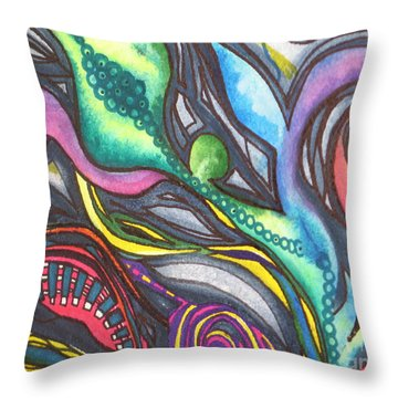 Groovy Series Titled My Hippy Days  Throw Pillow by Chrisann Ellis