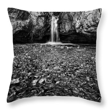Grotto Falls In Black And White Throw Pillow