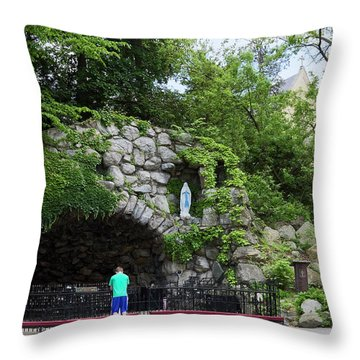 Grotto Of Our Lady Of Lourdes Throw Pillow