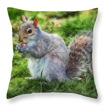 Throw Pillow featuring the photograph Ground Squirrel by Pennie  McCracken