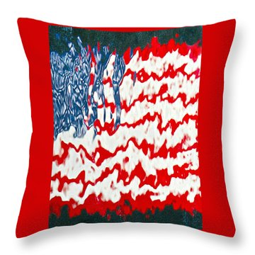 Ground Zero Reflection Of The American Flag Throw Pillow by Lorella  Schoales