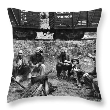 Group Of Hoboes, 1920s Throw Pillow by Granger