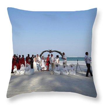 Group Wedding Photo Africa Beach Throw Pillow