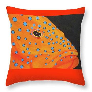Grouper Head Throw Pillow by Anne Marie Brown