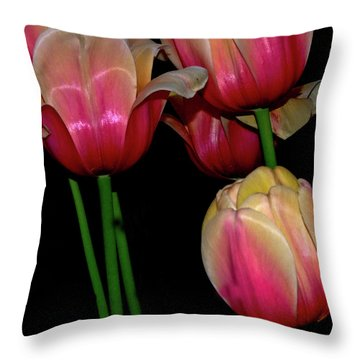 Grouping Ofpink And Yellow Tulips Throw Pillow