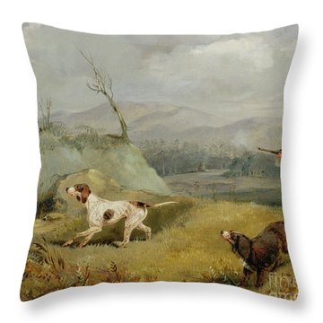 Grouse Shooting  Throw Pillow by Henry Thomas Alken