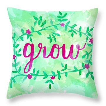 Grow Watercolor Throw Pillow