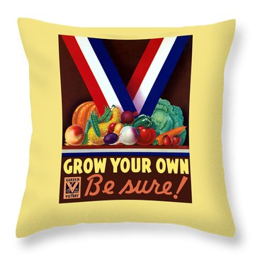 Grow Your Own Victory Garden Throw Pillow by War Is Hell Store