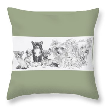 Throw Pillow featuring the drawing Growing Up Chinese Crested And Powderpuff by Barbara Keith