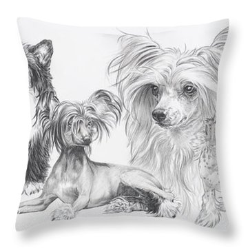The Chinese Crested And Powderpuff Throw Pillow