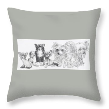 Growing Up Chinese Crested And Powderpuff Throw Pillow