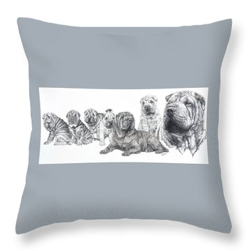 Throw Pillow featuring the drawing Growing Up Chinese Shar-pei by Barbara Keith