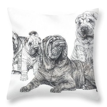 Mister Wrinkles And Family Throw Pillow
