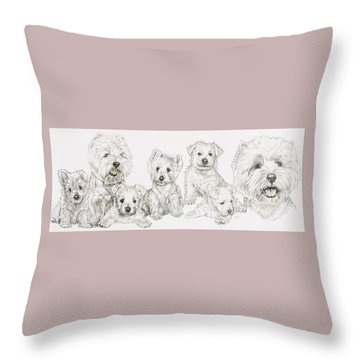Growing Up West Highland White Terrier Throw Pillow by Barbara Keith