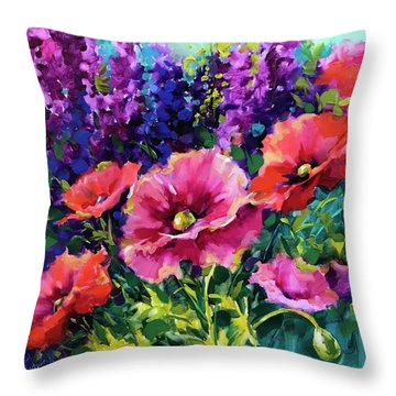 Growing Wild Poppies Throw Pillow