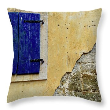 Groznjan Istrian Hill Town Stonework And Blue Shutters  - Istria, Croatia Throw Pillow
