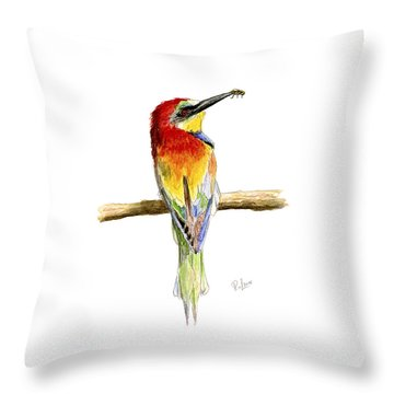Throw Pillow featuring the painting Gruccione  - Bee Eater - Merops Apiaster by Raffaella Lunelli