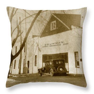 Grumman Baldwin Garage Throw Pillow