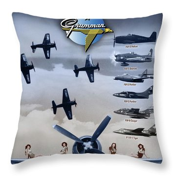 Grumman Blue Angels Cats Throw Pillow