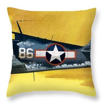 Grumman F6f-3 Hellcat Throw Pillow