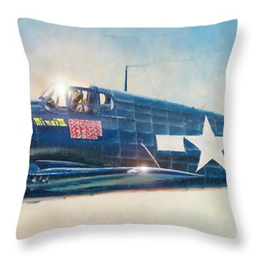 Grumman F6f-5 Hellcat Throw Pillow