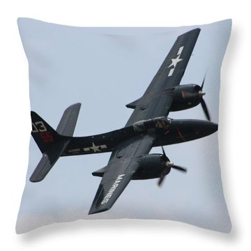 Grumman F7f-3n Tigercat Throw Pillow by Tommy Anderson