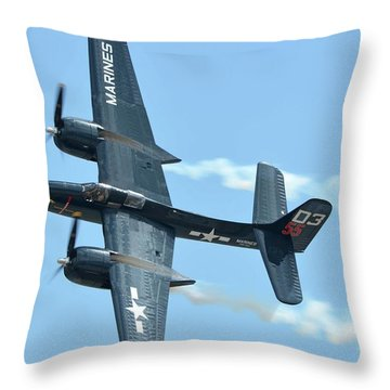 Throw Pillow featuring the photograph Grumman F7f-3p Tigercat Nx700f Here Kitty Kitty Chino California April 30 2016 by Brian Lockett
