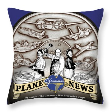 Grumman Plane News Throw Pillow