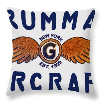 Grumman Wings Blue Throw Pillow