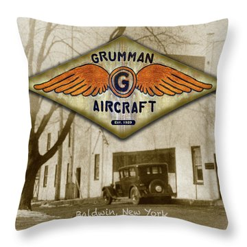 Grumman Wings Throw Pillow
