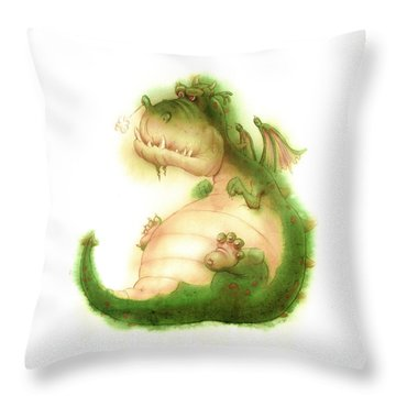 Grumpy Dragon Throw Pillow