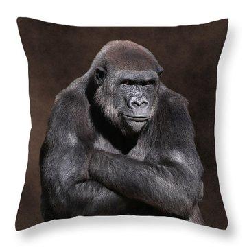 Grumpy Gorilla Throw Pillow