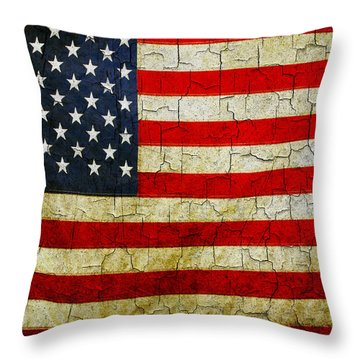 Grunge American Flag  Throw Pillow