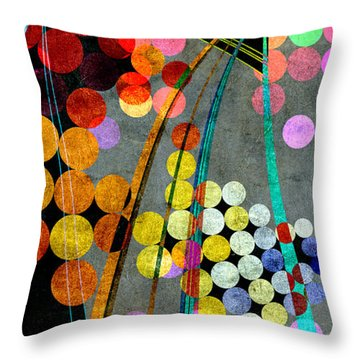 Throw Pillow featuring the digital art Grunge City Lights by Fran Riley