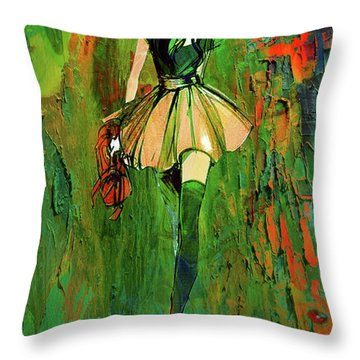 Throw Pillow featuring the digital art Grunge Doll by Greg Sharpe