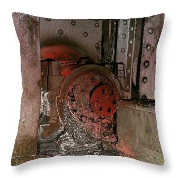 Throw Pillow featuring the photograph Grunge Gear Motor by Robert G Kernodle