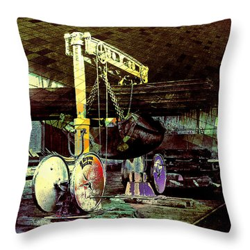 Throw Pillow featuring the photograph Grunge Hydraulic Lift by Robert G Kernodle