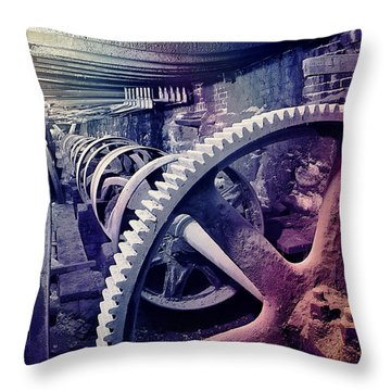 Grunge Large Gear Throw Pillow
