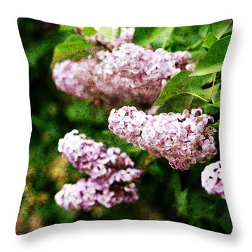 Grunge Lilacs Throw Pillow