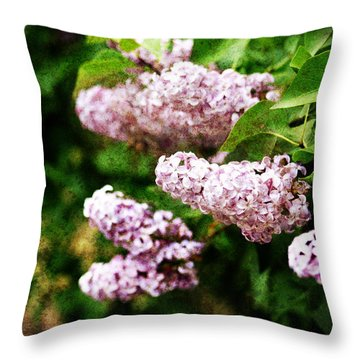 Throw Pillow featuring the photograph Grunge Lilacs by Antonio Romero