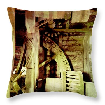Throw Pillow featuring the photograph Grunge Mill Wheels by Robert G Kernodle