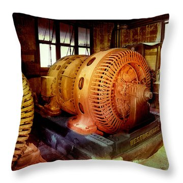 Throw Pillow featuring the photograph Grunge Motor Generator by Robert G Kernodle